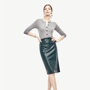 Petite Ann Taylor Faux Leather Pencil Skirt